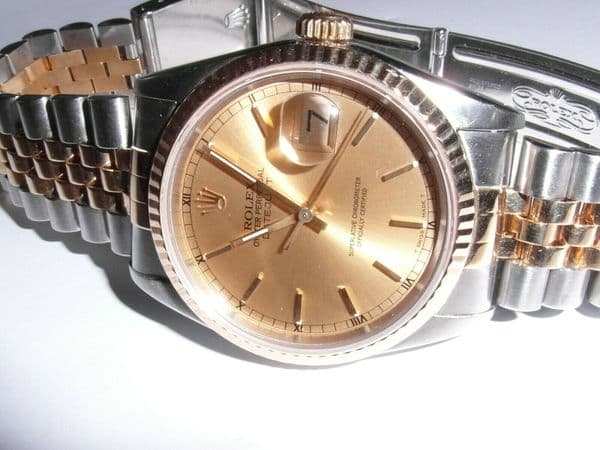 Q198 Mens / Gents 1990 18ct Gold Rolex Datejust watch Bi - metal Jubilee strap
