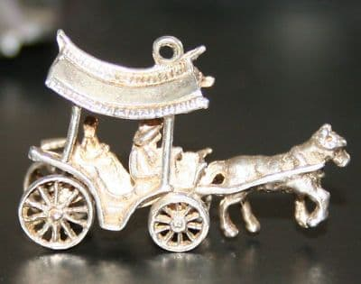 SOLID SILVER HORSE & CARRIAGE CHARM FOR CHARM BRACELET