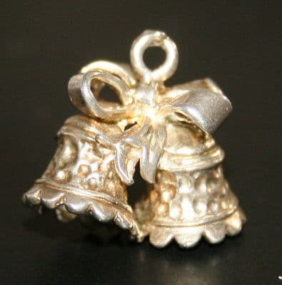 SOLID SILVER TWIN BELLS & BOW CHARM FOR CHARM BRACELET