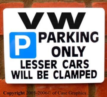 Parking Sign VW Gift -any manual/auto model for project