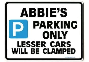 ABBIE'S Personalised Parking Sign Gift | Unique Car Present for Her |  Size Large - Metal faced