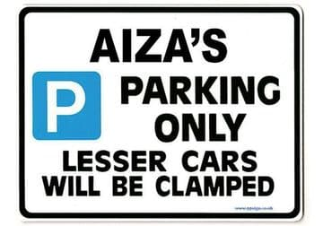 AIZA'S Personalised Parking Sign Gift | Unique Car Present for Her |  Size Large - Metal faced