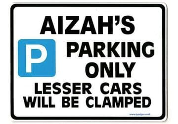 AIZAH'S Personalised Parking Sign Gift | Unique Car Present for Her |  Size Large - Metal faced
