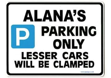 ALANA'S Personalised Parking Sign Gift | Unique Car Present for Her |  Size Large - Metal faced