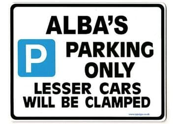 ALBA'S Personalised Parking Sign Gift | Unique Car Present for Her |  Size Large - Metal faced