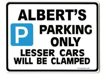 ALBERT'S Personalised Gift |Unique Present for Him | Parking Sign - Size Large - Metal faced
