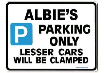 ALBIE'S Personalised Gift |Unique Present for Him | Parking Sign - Size Large - Metal faced