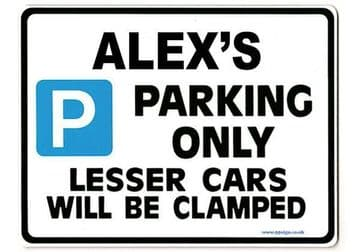 ALEX'S Personalised Gift |Unique Present for Him | Parking Sign - Size Large - Metal faced