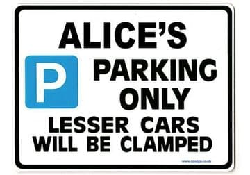 ALICE'S Personalised Parking Sign Gift | Unique Car Present for Her |  Size Large - Metal faced