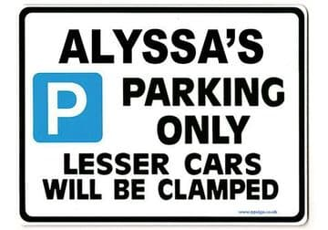 ALYSSA'S Personalised Parking Sign Gift | Unique Car Present for Her |  Size Large - Metal faced
