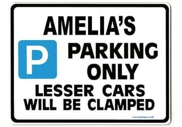 AMELIA'S Personalised Parking Sign Gift | Unique Car Present for Her |  Size Large - Metal faced