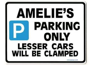 AMELIE'S Personalised Parking Sign Gift | Unique Car Present for Her |  Size Large - Metal faced