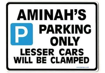 AMINAH'S Personalised Parking Sign Gift | Unique Car Present for Her |  Size Large - Metal faced