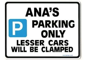 ANA'S Personalised Parking Sign Gift | Unique Car Present for Her |  Size Large - Metal faced