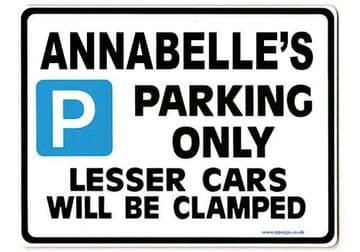 ANNABELLE'S Personalised Parking Sign Gift | Unique Car Present for Her |  Size Large - Metal faced