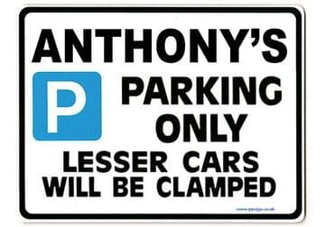 ANTHONY'S Personalised Gift |Unique Present for Him | Parking Sign - Size Large - Metal faced