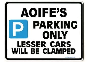 AOIFE'S Personalised Parking Sign Gift | Unique Car Present for Her |  Size Large - Metal faced