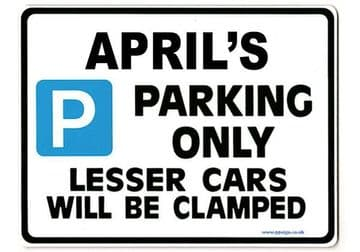 APRIL'S Personalised Parking Sign Gift | Unique Car Present for Her |  Size Large - Metal faced