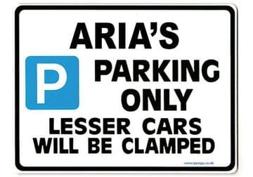 ARIA'S Personalised Parking Sign Gift | Unique Car Present for Her |  Size Large - Metal faced