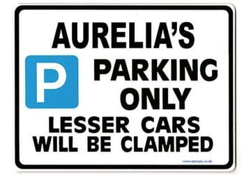 AURELIA'S Personalised Parking Sign Gift | Unique Car Present for Her |  Size Large - Metal faced