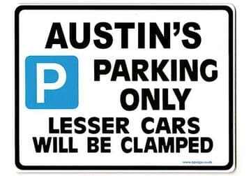 AUSTIN'S Personalised Gift |Unique Present for Him | Parking Sign - Size Large - Metal faced