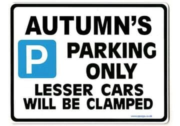 AUTUMN'S Personalised Parking Sign Gift | Unique Car Present for Her |  Size Large - Metal faced