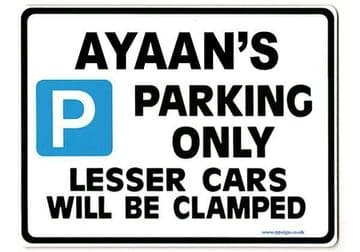 AYAAN'S Personalised Gift |Unique Present for Him | Parking Sign - Size Large - Metal faced