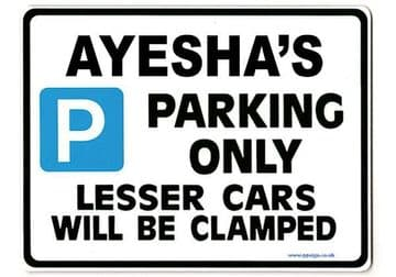 AYESHA'S Personalised Parking Sign Gift | Unique Car Present for Her |  Size Large - Metal faced