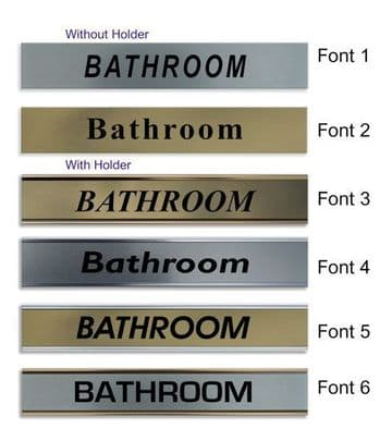 Bathroom  Door Nameplate | slide in or fixed room sign