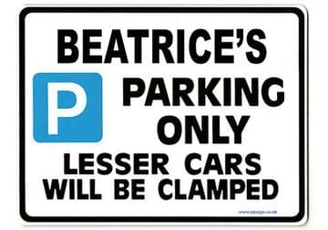 BEATRICE'S Personalised Parking Sign Gift | Unique Car Present for Her |  Size Large - Metal faced