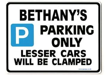 BETHANY'S Personalised Parking Sign Gift | Unique Car Present for Her |  Size Large - Metal faced