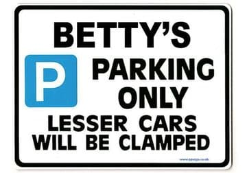BETTY'S Personalised Parking Sign Gift | Unique Car Present for Her |  Size Large - Metal faced