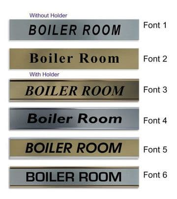 Boiler Room  Door Nameplate | slide in or fixed room sign
