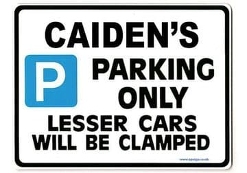 CAIDEN'S Personalised Gift |Unique Present for Him | Parking Sign - Size Large - Metal faced