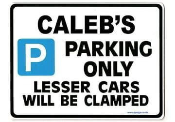 CALEB'S Personalised Gift |Unique Present for Him | Parking Sign - Size Large - Metal faced