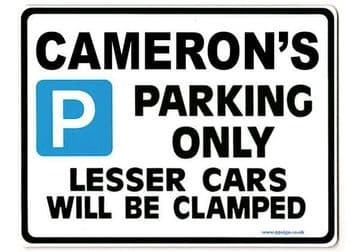 CAMERON'S Personalised Gift |Unique Present for Him | Parking Sign - Size Large - Metal faced