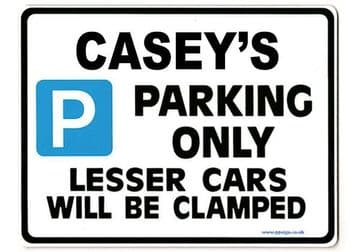CASEY'S Personalised Gift |Unique Present for Him | Parking Sign - Size Large - Metal faced