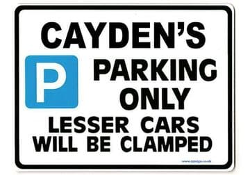 CAYDEN'S Personalised Gift |Unique Present for Him | Parking Sign - Size Large - Metal faced