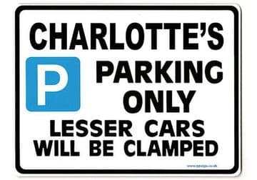 CHARLOTTE'S Personalised Parking Sign Gift | Unique Car Present for Her |  Size Large - Metal faced