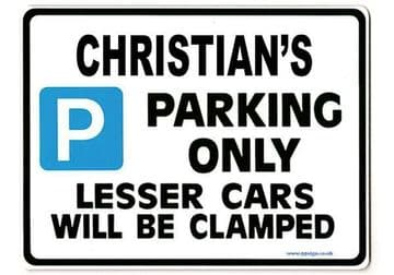 CHRISTIAN'S Personalised Gift |Unique Present for Him | Parking Sign - Size Large - Metal faced