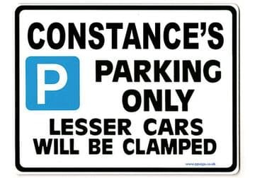 CONSTANCE'S Personalised Parking Sign Gift | Unique Car Present for Her |  Size Large - Metal faced