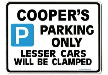 COOPER'S Personalised Gift |Unique Present for Him | Parking Sign - Size Large - Metal faced