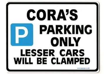 CORA'S Personalised Parking Sign Gift | Unique Car Present for Her |  Size Large - Metal faced