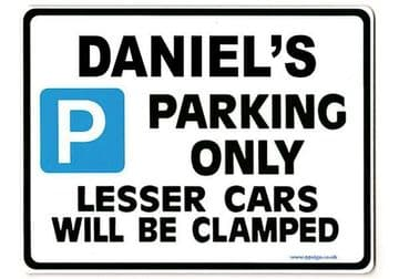DANIEL'S Personalised Gift |Unique Present for Him | Parking Sign - Size Large - Metal faced