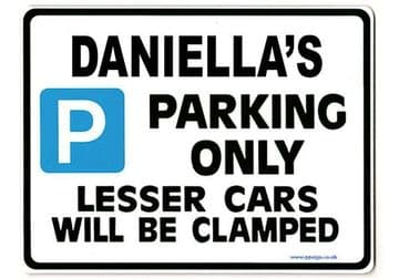 DANIELLA'S Personalised Parking Sign Gift | Unique Car Present for Her |  Size Large - Metal faced