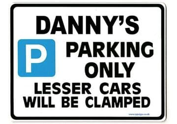 DANNY'S Personalised Gift |Unique Present for Him | Parking Sign - Size Large - Metal faced