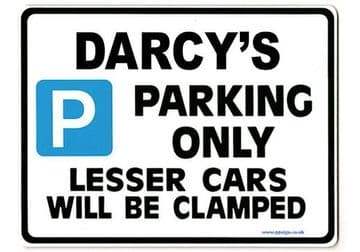 DARCY'S Personalised Parking Sign Gift | Unique Car Present for Her |  Size Large - Metal faced