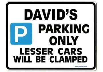 DAVID'S Personalised Gift |Unique Present for Him | Parking Sign - Size Large - Metal faced