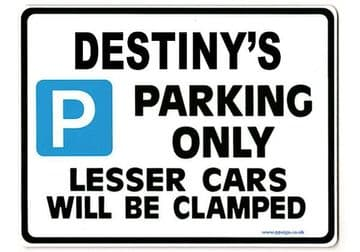 DESTINY'S Personalised Parking Sign Gift | Unique Car Present for Her |  Size Large - Metal faced
