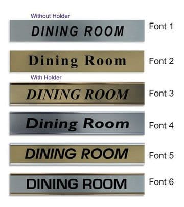 Dining Room  Door Nameplate | slide in or fixed room sign